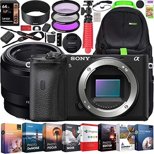 Sony a6600 Mirrorless Camera 4K APS-C Camera Body and FE 50mm F1.8 Full-Frame Fast Prime Lens ILCE-6600B + SEL50F18F Bundle + Deco Gear Travel Backpack Case + Photo Video Software Kit + Accessories