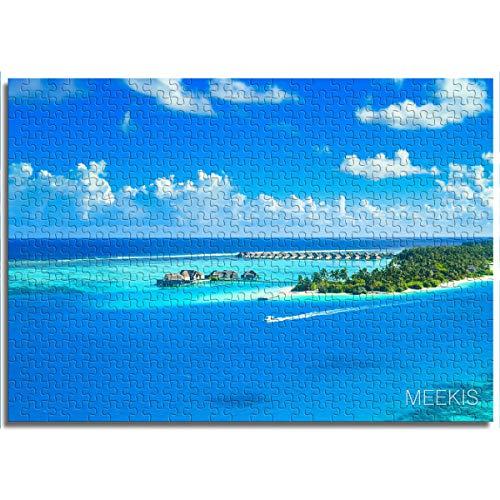BOVIENCHE 1000 Pezzi di Puzzle Classici per Adulti Vista sul Mare delle Maldive Puzzle per Bambini 38x26 cm Giochi di Puzzle educativi Regalo di Natale
