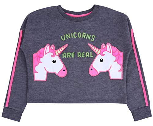 Primark Sudadera Corta de Color Gris-neón Unicornio 10-11 años