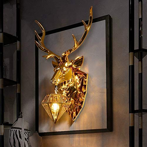 Antecedentes Ciervos Dirigen La Pared De La Lámpara De Iluminación Creativa De La Sala Tv Pared Del Oro De Plata Grande De La Lámpara De La Cornamenta Creativo Peque gold-M