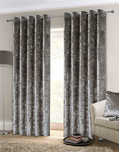 """LUXURY THICK CRUSHED VELVET SILVER LINED RING TOP WOVEN CURTAINS DRAPES 90"""" X 90"""" & 2 X 18"""" THROW PILLOW SCATTER CUSHIONS"""