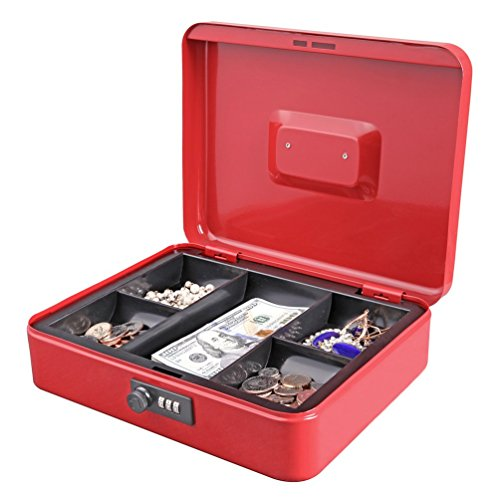 Jssmst Large Cash Box with Combination Lock – Durable Metal Cash Box with Money Tray, Red, 11.81 x 9.84 x 3.46 inches, CB0703XL
