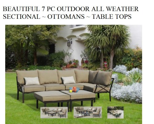 Hot Sale Outdoor 7 Pc Sectional Patio Furniture Deep Seating Cushions ~ Ottomans