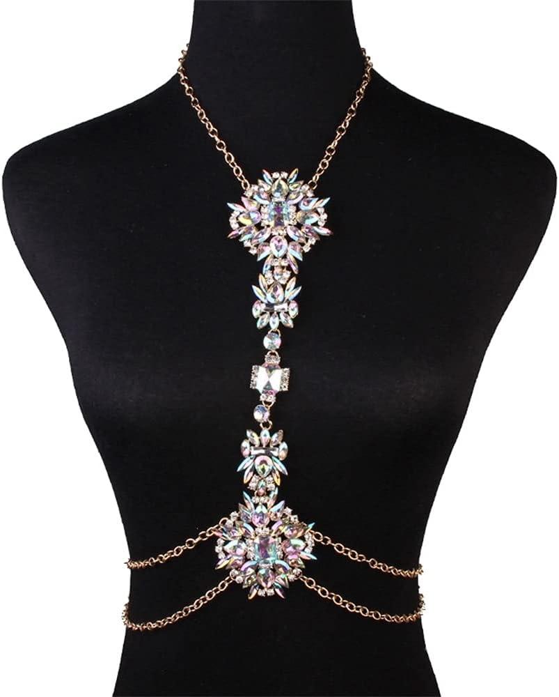 EEKLSJ Flower Design Long Necklace Link Chain Fashion Body Necklace Chain Bikini Jewelry for Women Decor Jewelry Accessories (Color : Gold)