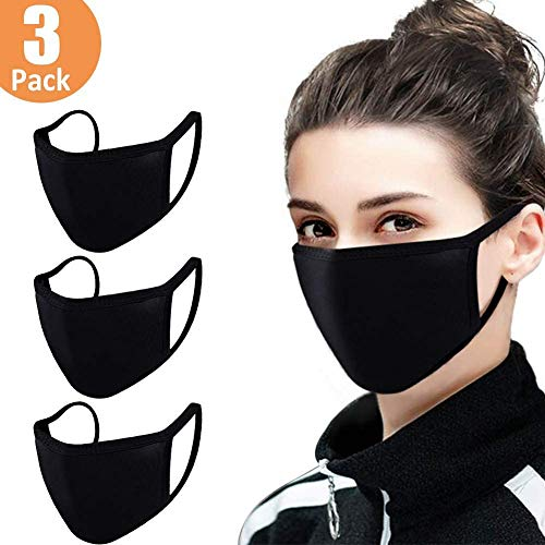 Amuoc 3 Pcs Fashion Protective Face Cover, Unisex Black Dust Cotton Mouth Cover, Washable, Reusable Cotton Fabric