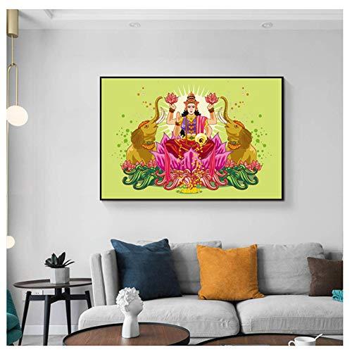 feitao Diosa Lakshmi Cultura India Religión Obra De Arte Espiritual Imagen Decoración De Pared Decoración del Hogar -20X30 Pulgadas Sin Marco