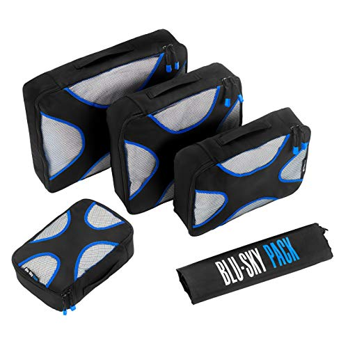 Blu Sky Packing Cubes (5-Piece) The Best Professional Quality Suitcase Organiser, Compressible Luggage Cubes Ideal for Holidays, Business Air Travel, Backpacking Touring, Cruises