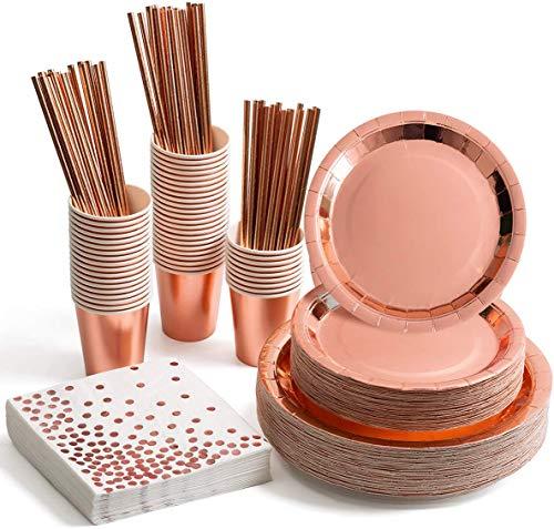 HusDow - Set di stoviglie usa e getta in oro rosa, con piatti di carta color oro rosa, tovaglioli da cocktail, bicchieri, cannucce per compleanni, matrimoni, feste, per servire 30 ospiti