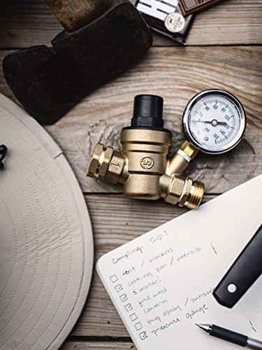 Kanbrook Adjustable RV Water Pressure Regulator with Two Inlet Screen Filters - 1 Year Warranty