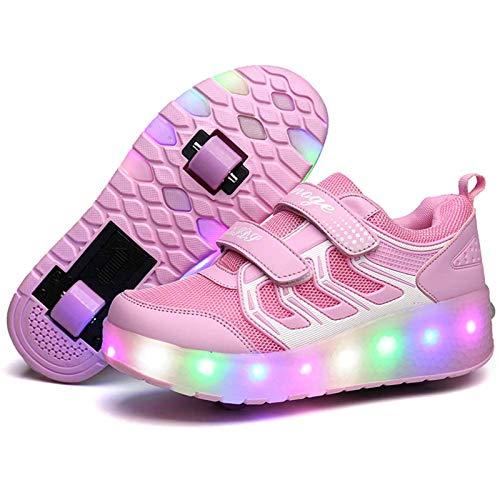 HWZZ Mädchen Rollschuhe, Modische Und Coole Outdoor-Schuhe LED-Leuchten Blinken Verstellbare Rollschuhe, Die Für Outdoor-Sportarten Für Kinder Geeignet Sind,Rosa,35EU