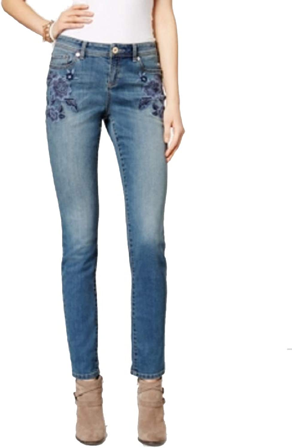 I.N.C. International Concepts Women's Embroidered Sail Wash Skinny Jeans