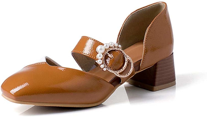 Damenschuhe, modisch modisch farblich abgestimmte Absatz mit eckiger Schnalle und hohlen Sandalen für Damen,C,35  Kreditgarantie