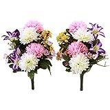 山久 造花 仏様のお供えに エゾ菊 と ミニリリー のプチ花束一対 1107-0614 CT触媒加工 シルクフラワー