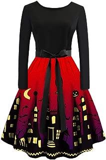 Aunimeifly Women Casual Off Shoulder Long Sleeve Dress Ladies Halloween Party Print Pleated Tutu Dresses