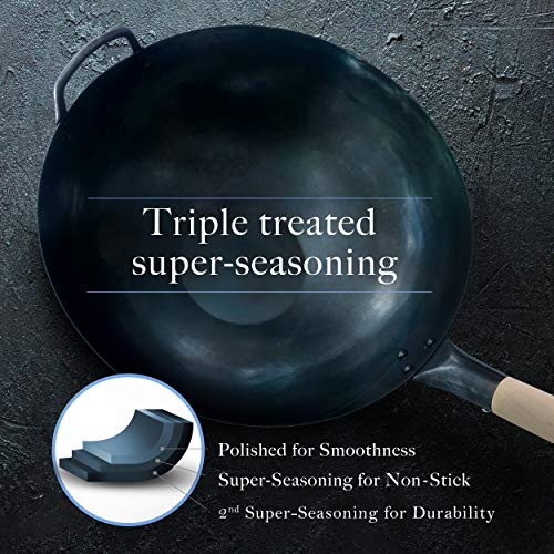 Product Image 6: Pre Seasoned Blue Carbon Steel Flat Bottom Wok -14 Inch Chinese Pow Wok – Traditionally Hand Hammered Woks and Stir Fry Pans by Mammafong