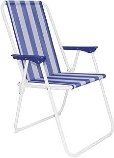 Silla de Playa Plegable Azul Marino y Blanca Hierro clásico de 88x53x46 cm - LOLAhome