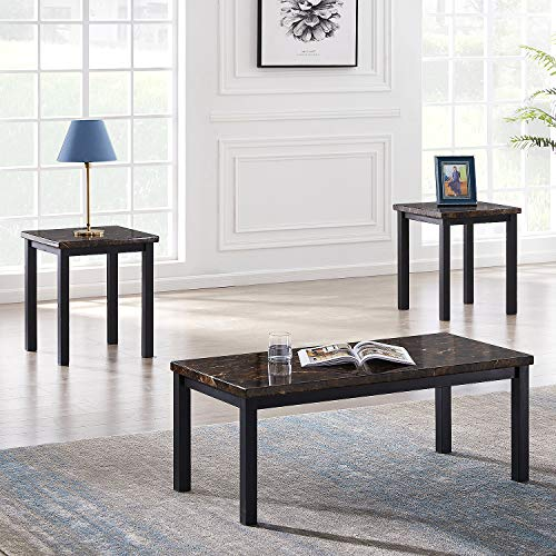 Recaceik 3 Pieces Faux Marble Tabletop, Traditional Coffee Set with Black Metal Frame, Sofa Side Tables Perfect for Living Room Accent Furniture