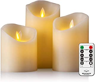 Air Zuker Velas LED con llama móvil - Funda de efecto llama velas de cera con LED con 10 Key mando a distancia y temporizador [Stumpenkerze clásica, marfil color] - 3 Pack