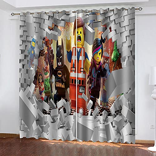 Verdunklungsvorhänge Gardinen mit Ösen H 160 x B 66 cm 2er Set Thermo Vorhang Blickdicht für Schlafzimmer Kinderzimmer Wohnzimmer, Lego Ninjago