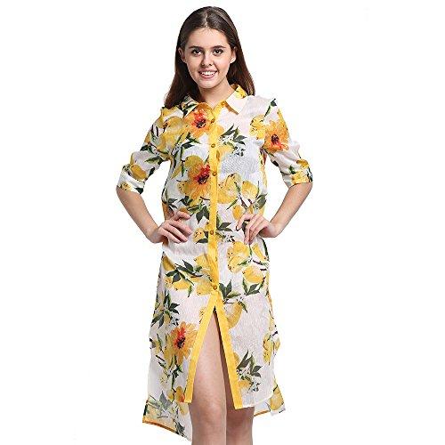 CISULI jedwabna lniana koszula sukienka damska trencz letnie koszule drukowane płaszcze