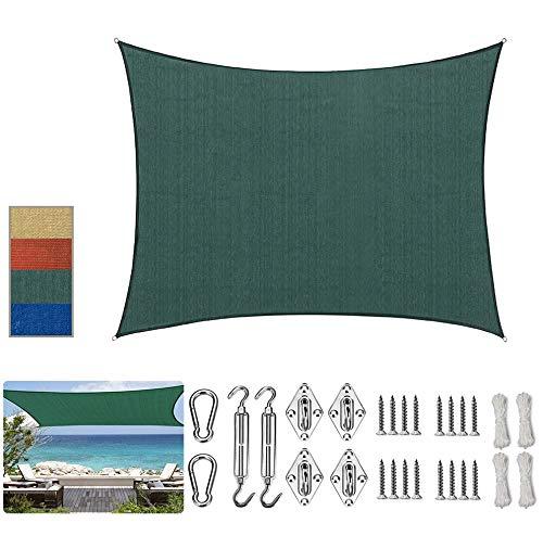 SUNDUXY Grün Rechteck Sonnensegel Sonnenschutz Windschutz Sonnensegel Zubehör Sonnenschutz Montage Kit | HDPE Gewebe | wasserabweisend & windabweisend,Dark Green,2.5x5.5m
