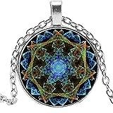 Mandala Coloré Lampes Motif Verre Convexe Pendentif Rond Collier...