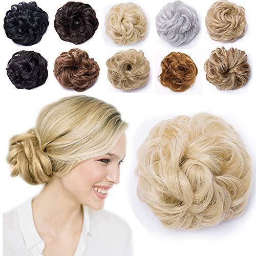 Hair Extensions Haarverlängerung Haargummi Hochsteckfrisuren Dutt voluminös wie Echthaar Gebleichtes Blond Wavy-40g