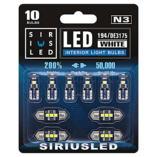 SIRIUSLED N3 DE3175 31MM 194 168 2825 Combo LED bulbs white Super Bright 300 Lumens 3030 Chipset for Japanese Car Truck Interiors Dome Map Door Courtesy License Plate Lights pack of 10