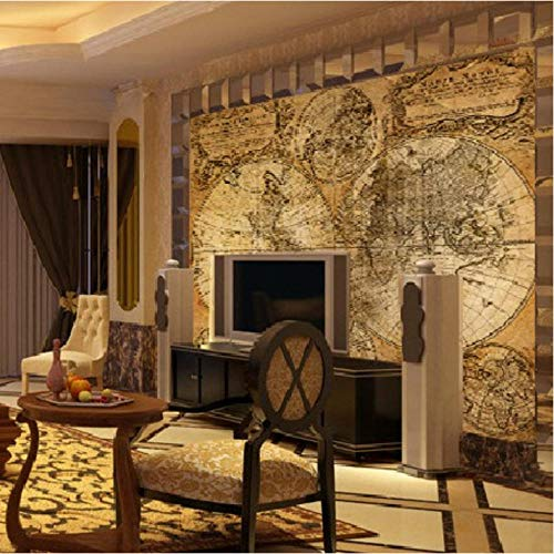 Pbbzl Fotobehang Europese Global Map Wallpaper Klassieke Oude Kaarten Behang voor Woonkamer Studio Mural 280x200cm
