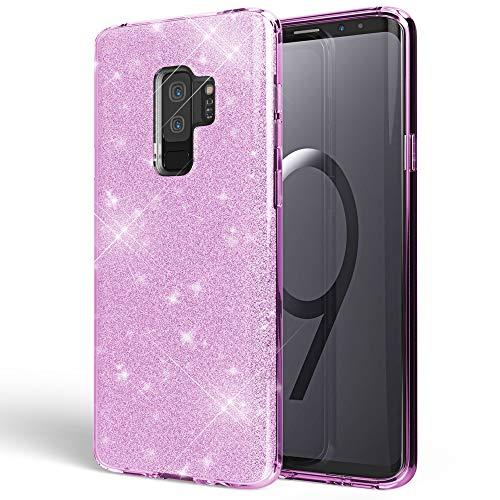 NALIA Handyhülle kompatibel mit Samsung Galaxy S9 Plus, Glitzer Ultra-Slim Silikon-Hülle Back-Cover Schutz, Glitter Sparkle Handy-Tasche Bumper, Dünnes Bling Strass Phone Etui, Farbe:Lila