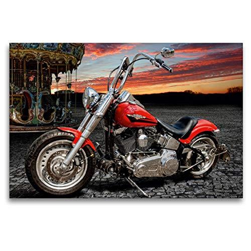 Premium Textil-Leinwand 120 x 80 cm Quer-Format Harley-Davidson Fat Boy Bobber Chopper | Wandbild, HD-Bild auf Keilrahmen, Fertigbild auf hochwertigem Vlies, Leinwanddruck von N N