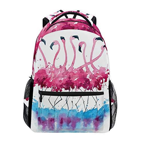 WXLIFE Tropical Flamingo Watercolor Backpack Travel School Shoulder Bag for Kids Boys Girls Women Men