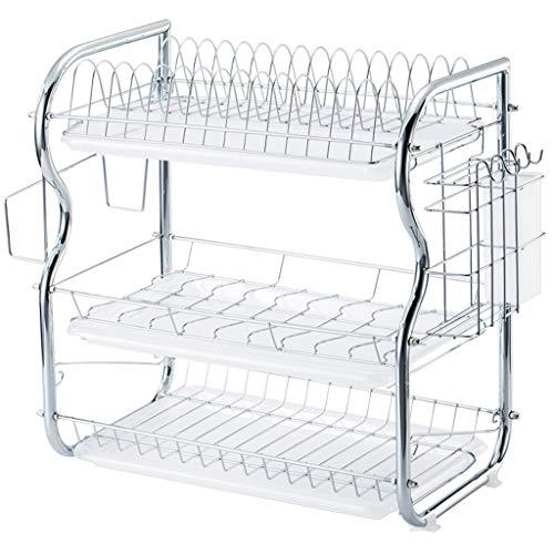 Küchenregale Rostfreier Stahl 3 Schicht Küchenregal Dish Rack Abtropfgestell trocknen das Geschirr-Lagerregal