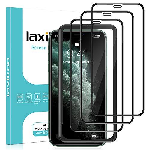 laxikoo 3 Stück Full Screen Schutzfolie für iPhone 11 Pro Max/iPhone XS Max (6,5 Zoll), 9H Härte Schutzglas Mit Positionierhilfe EinfacheInstallation Blasenfrei Anti-Kratzen Displayschutzfolie