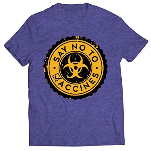 lepni.me Camisetas Hombre Di no a Las Vacunas Lema de Seguridad contra la Vacunación Obligatoria (S Brezo Azul Multicolor)