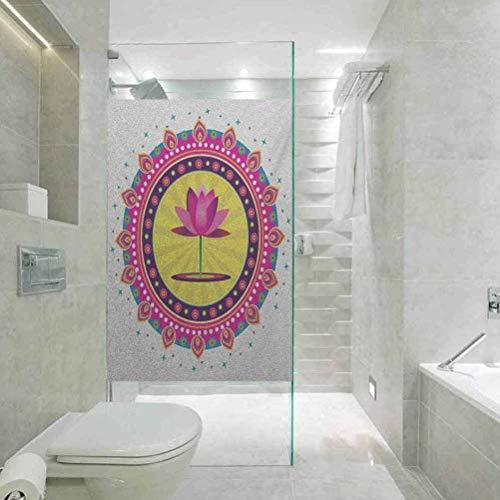 Adhesivo para ventana sin pegamento, anti-UV, diseño de flor de loto con un espíritu de flor rosa, fácil de instalar y reutilizar película de vidrio, 45 x 89,9 cm