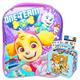 Paw Patrol Backpack and Lunch Box Bundle for Girls ~ Skye Paw Patrol School Bag for Toddlers with Lunch Tin and Stickers (Paw Patrol School Supplies)
