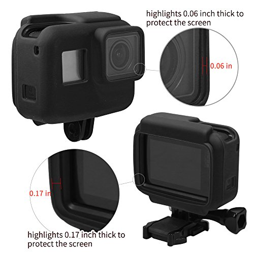SUREWO Silicone Protective Housing Frame Case Compatible GoPro Hero New 7 Black,(2018)/6/5 Black (Black)