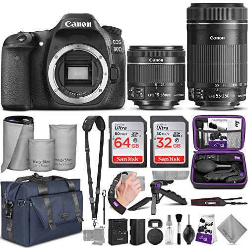 Canon EOS 80D DSLR Camera and Canon EF-S 18-55mm f/3.5-5.6 is STM + EF-S 55-250mm...