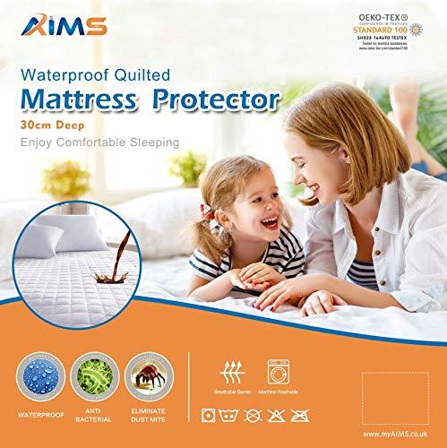 AIMS Protector de colchón acolchado impermeable de microfibra, sábana bajera ajustable con faldones elásticos de 30 cm de profundidad (doble de 4 pies)