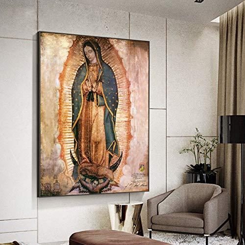 3D Pintura De La Lona Mural El Día De La Virgen De Guadalupe En México Carteles E Impresiones Lienzo Arte De Pared Lienzo Retrato Imagen Para Decoración De Sala De Estar 60x90cm