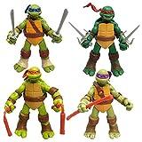 4PC Tortugas Ninja Movable Animado Vinil Figura 4.7'