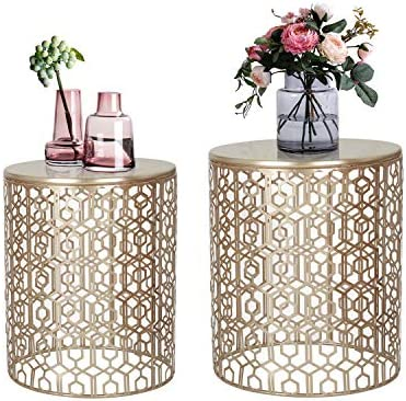 Best Adeco Nesting Round End Accent Coffee, Side Table. Nightstand, Set of 2, Gold Color