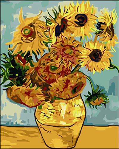 Tirzah Malen nach Zahlen mit 3X Bildschirmlupe 40 x 50cm DIY Leinwand Gemälde für Erwachsene und Kinder, Enthält Acrylfarben und 3 Pinsel - Sonnenblume von Vincent Van Gogh (Ohne Rahmen)