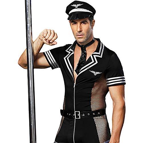 Sexy Uniform für Männer, Nachtclub-Persönlichkeit Alternative Performance-Kleidung Pilotrolle Cosplay-Kostüm Schwarze erotische Schwule Unterwäsche