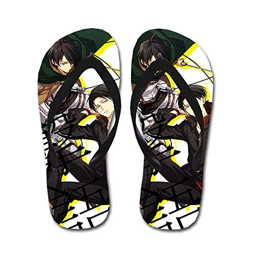 KaiWenLi Attack On Titan Series/Eren and Levi Pattern/Anime Flip Flops/Beach Sandals/Thong Sandals/Best Shoes in Summer/Best Gifts for Anime Fans and Otaku (Size : L)