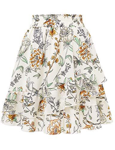 Bbonlinedress Rock Röcke Sommerrock Minirock Kurz Röcke Skirts Chiffon Rock im Sommer Damen Mädchen Basic Solide Vielseitige Dehnbar Mini Rock A-Linie Rockabilly White Large Flower M