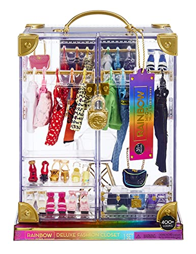Rainbow High Deluxe Fashion Closet Playset–400+ Fashion Combinations! Portable Clear Acrylic Toy Closet Features 31+ Fashion Forward Pieces, Doll Clothing, Doll Accessories & Doll Storage   Ages 6-12