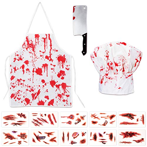 Halloween Bloody Butcher Costumes Scary Set - Cooking Chef Apron Hat Weapon Knife Tattoo Stickers...