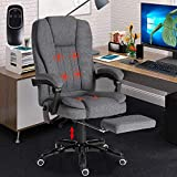 VUYUYU Ergonomic Massage Office Chair - High-Back Fabric Executive Computer Desk Chair - Adjustable Tilt Angle Swivel Task Chair with Footrest (A: Black)